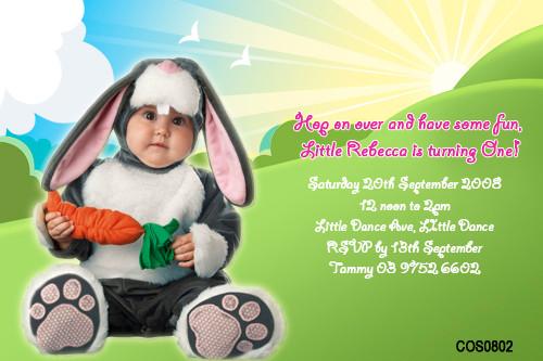 Personalised photo invitations - little bunny costume theme