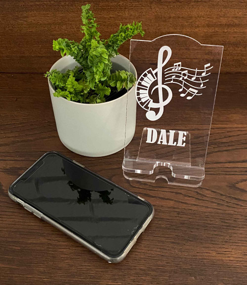 Musical Notes personalised acrylic phone stand