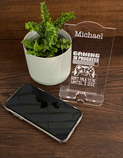 Personalised Acrylic Phone Stand - Gaming in Progress design