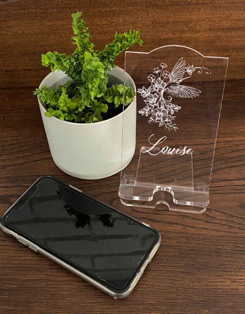 Personalised engraved acrylic smartphone holder -  Humming Bird design -  desk organiser - iphone stand - Smartphone dock - phone stand