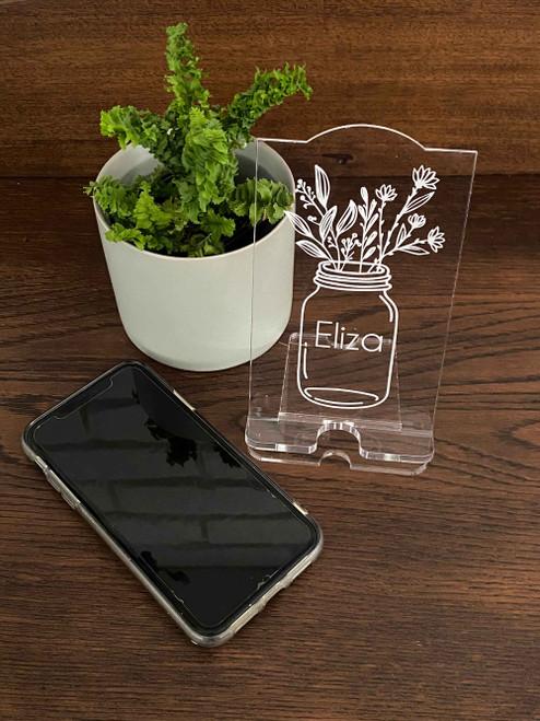 Personalised engraved acrylic smartphone holder -  Flowers in Mason Jar design -  desk organiser - iphone stand - Smartphone dock - phone stand