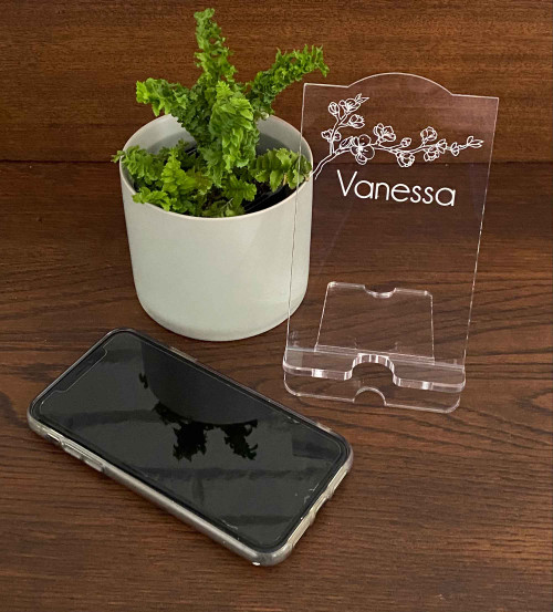 Personalised engraved acrylic smartphone holder -  Cherry Blossom design -  desk organiser - iphone stand - Smartphone dock - phone stand