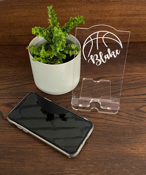 Personalised engraved acrylic smartphone holder - Basketball themed design for basketball lovers -  desk organiser - iphone stand - Smartphone dock - phone stand