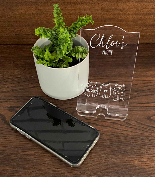 Personalised engraved acrylic smartphone holder -  Cute Cats Design -  desk organiser - Cat themed iphone stand - Smartphone dock - Cat phone stand. Made in Australia. Buy with Afterpay