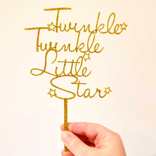 Twinkle Twinkle Little Star Gold Glitter Cake Topper