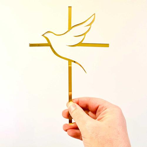 Dove & Cross Religious Cake Topper