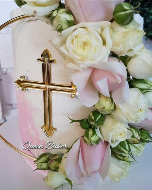 Cross plaque for cake - baptism cake plaque
