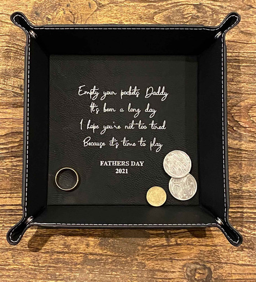 Black leatherette Fathers Day Catch All Tray