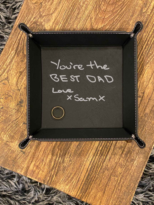 Black coloured Custom handwriting valet tray