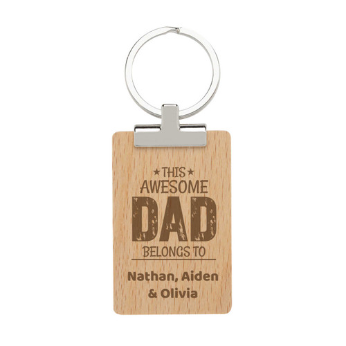 This Awesome Dad Belongs to - Personalised Dads Day Keyring