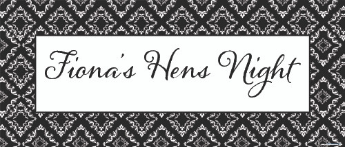 Personalised banner with damask effect finish. Hens night or hen party banner. Buy online in Australia