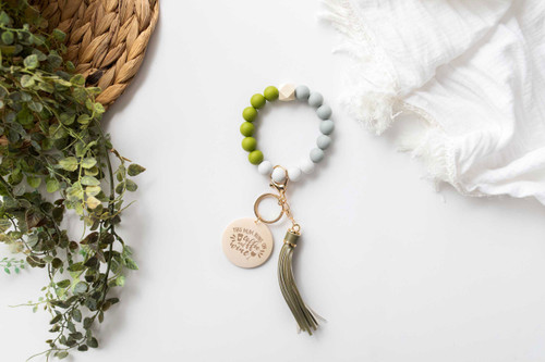 Personalised - Green Silicone Beaded Keychain Bracelet
