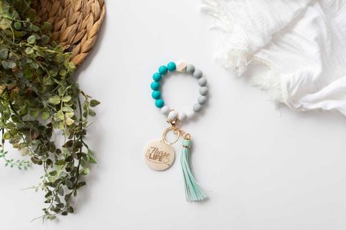 Personalised - Turquoise Silicone Beaded Keychain Bracelet