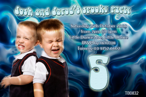 Ghost themed photo invitation for birthdays or parties