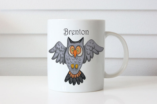 Personalised coffee mug or cup with name - wise owl theme. For sale online. Made in Melbourne Australia