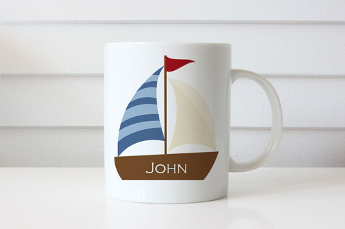 Personalised coffee mug or cup with name - sailing boat or yacht theme. For sale online.
