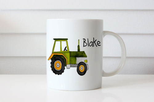 Personalised coffee mug or cup with name - farm tractor theme. For sale online. Personalised gifts made in Melbourne Australia