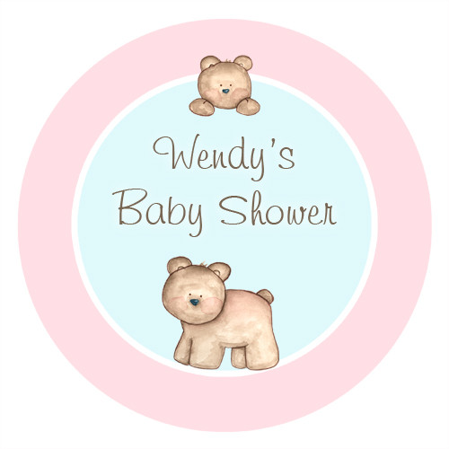 Personalized & custom baby shower party Labels & Stickers - pink baby bear girls theme. For sale in Australia - order online
