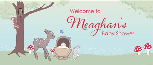 Personalized baby shower banner - Baby forest animals theme - sale online -Printed in Melbourne Australia