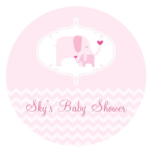 Personalized & custom baby shower party Labels & Stickers - pink baby elephant theme. For sale in Australia - order online