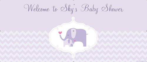 Personalized baby shower banner - lilac elephant theme - delivers to Sydney