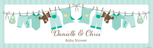 Personalized baby shower banner - mint green baby clothes theme - fast delivery