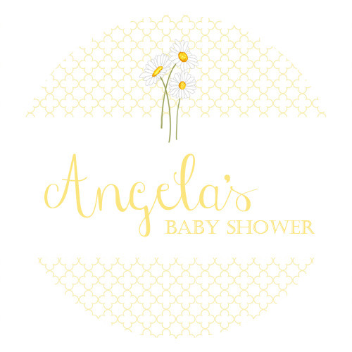 Personalized & custom baby shower party Labels & Stickers - gender neutral yellow daisies theme. For sale in Australia - order online