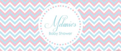 Personalized girls baby shower banner - pink & blue chevron theme - Australian made