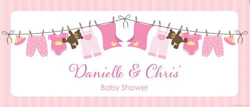 Custom baby shower banner - pink baby clothes theme - Aussie website