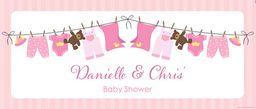 Custom baby shower banner - pink baby clothes theme - Printed in Australia. Buy online with AfterPay, PayPal or card