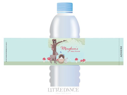 Baby Forest Animals theme personalised & custom baby shower water bottle labels for sale. Order online in Australia