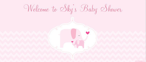 Custom baby shower banners - pink elephant girl baby theme