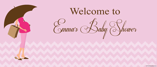 Custom baby shower banners - pink mum to be girl baby theme