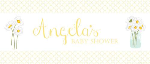 Custom baby shower banners - yellow daisies theme - buy online in Brisbane