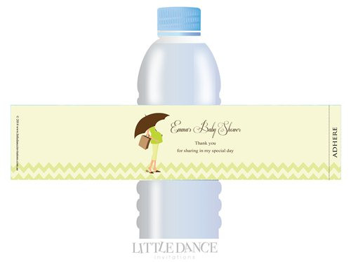 Green Mum to Be theme personalised & custom baby shower water bottle labels for sale. Order online in Australia