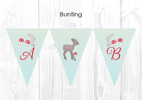 Baby Forest Animals Baby Shower Party Personalised Bunting Flag Decorations