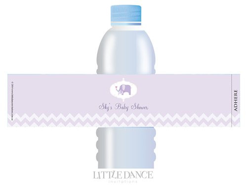 Lilac Elephant theme personalised & custom baby shower water bottle labels for sale. Order online in Australia