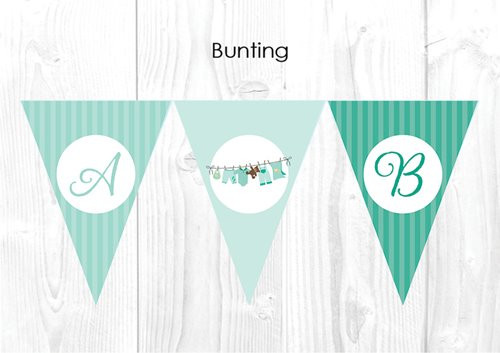 Green Baby Clothes Baby Shower Party Personalised Bunting Flag Decorations. Printed in Melbourne, Australia.  Buy online in Australia. Afterpay, PayPal, Credit Card accepted.