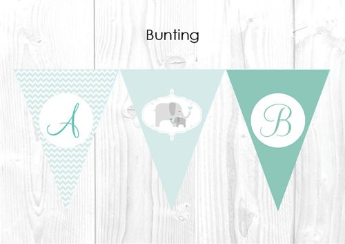 Green Baby Elephant Baby Shower Party Personalised Bunting Flag Decorations. Printed in Melbourne, Australia.  Buy online in Australia. Afterpay, PayPal, Credit Card accepted.