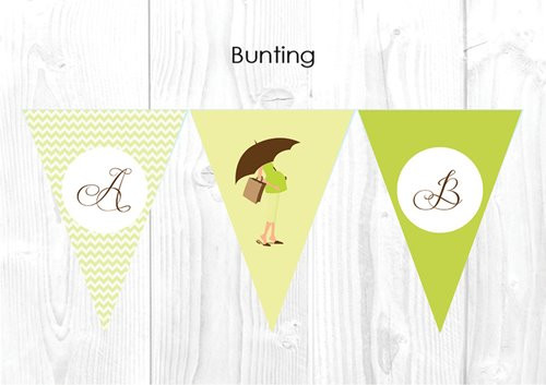 Green Mom to Be Baby Shower Party Personalised Bunting Flag Decorations