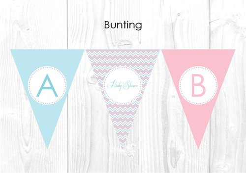 Pink & Blue Gender Neutral Shower Party Personalised Bunting Flag Decorations