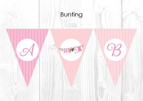 Pink Mom to Be Baby Shower Party Personalised Bunting Flag Decorations