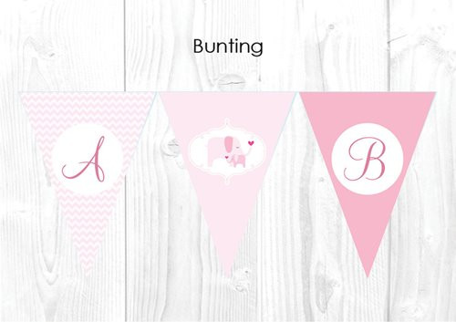 Pink Baby Elephant Themed Baby Shower Personalised Bunting Flag Decorations