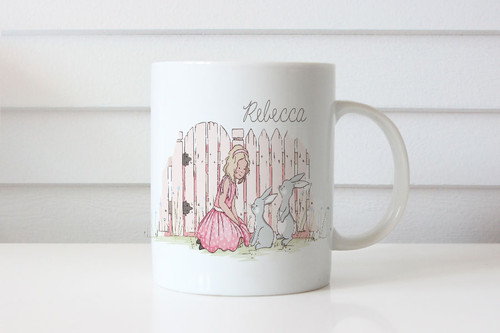 Personalised mug - Easter theme - Bunny at the gate. Australian website.