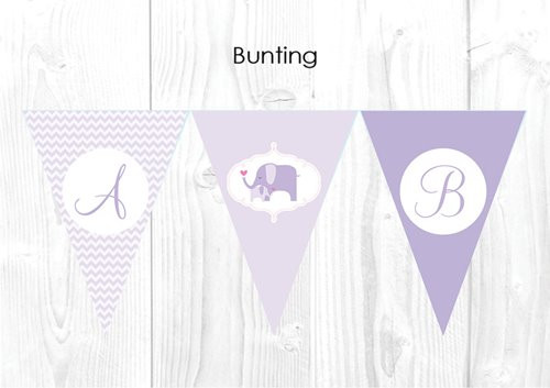 Lilac Baby Elephant Themed Baby Shower Personalised Bunting Flag Decorations. For sale online. Made in Australia. Buy with AfterPay or PayPal