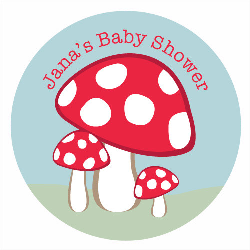 Toadstool Baby Shower Cake Icing - Personalised edible image for baby shower with a fairy toadstool theme. Printed in Melbourne Australia