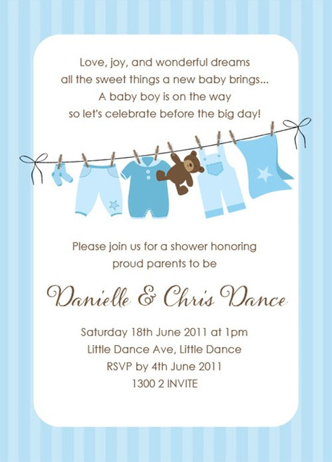 Blue Baby Clothesline Baby Shower Invitations