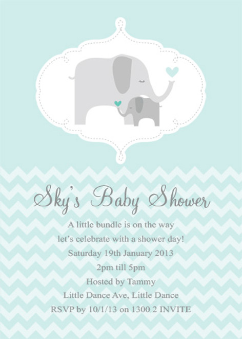 Personalised baby shower invitations featuring a cute baby Elephant, on a pretty green background. Printed in Australia.
