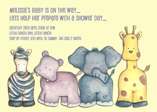 Baby Safari Animals Baby Shower Invitations
