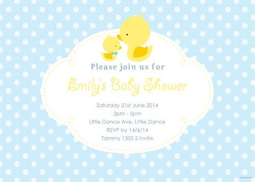 Little Duck Blue Baby Shower Invitations